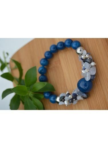 Stoneage Güzel Bileklik Taş Ceyt İnci ve Lapis Lazuli Mavi